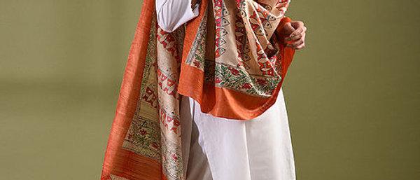 Orange Multicolor Work Madhubani Silk Dupatta