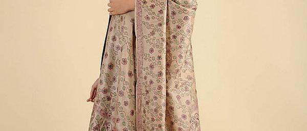 Beige-Mehron Madhubani Painted Silk Dupatta