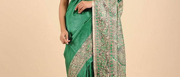 Green BeigeTusser Silk Madhubani Saree