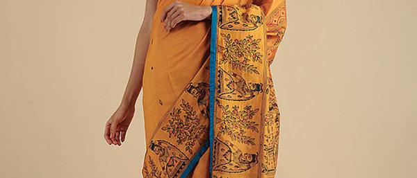 Orange-Blue madhubani Silk Saree