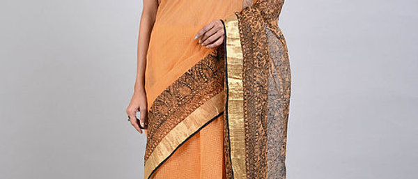 Peach Black Madhubani Kota Cotton Saree