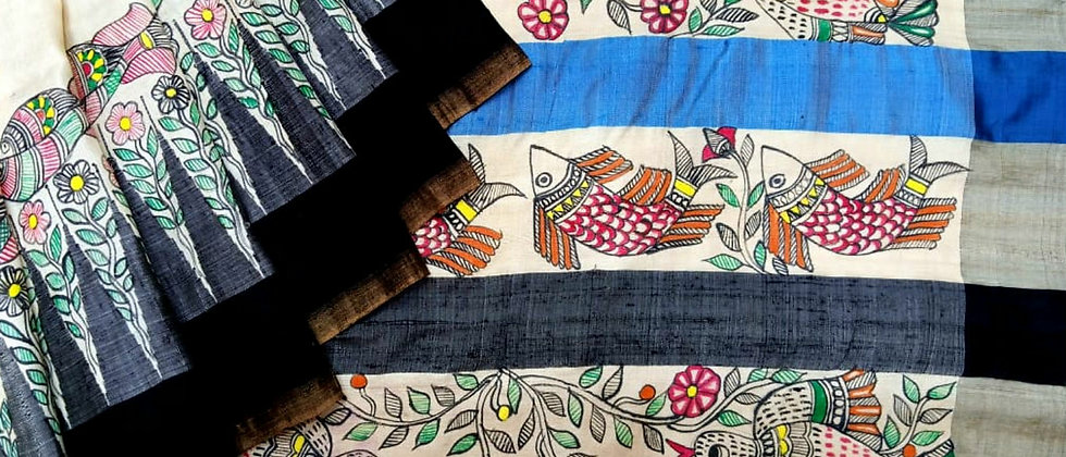 Kosa Silk Madhubani Hand Painted Saree