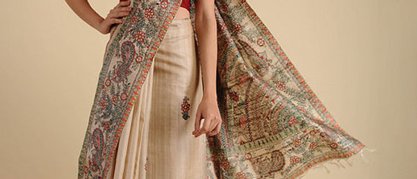 Ivory-Green Madhubani Painted Silk Saree
