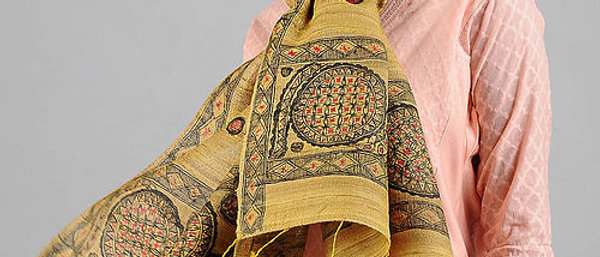 Yellow Multi Color Silk Madhubani Stole