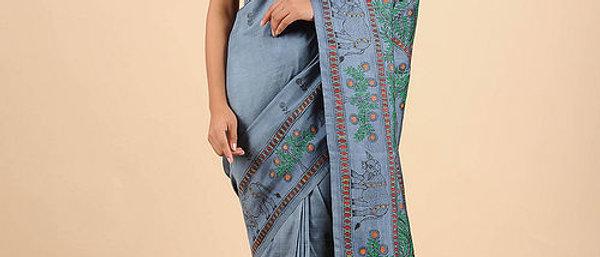 Grey-Green Hand Painted Madhubani Tussar Silk Saree