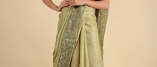 Yellow Black Tusser Silk Madhubani Saree