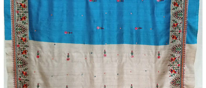 Blue Multi Colour Aari Work Silk Saree