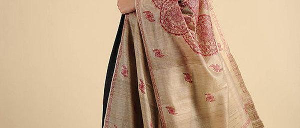 Beige-Pink Madhubani Painted Silk Dupatta
