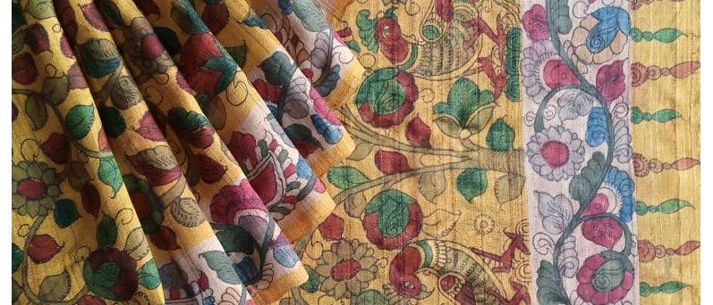 Yellow Kalamkari Natural Dye Silk Saree