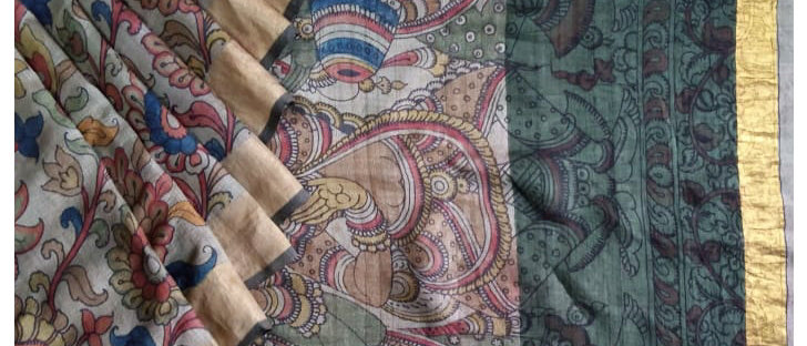 Grey base Multicolor Work Kalamkari Natural Dye Silk Saree