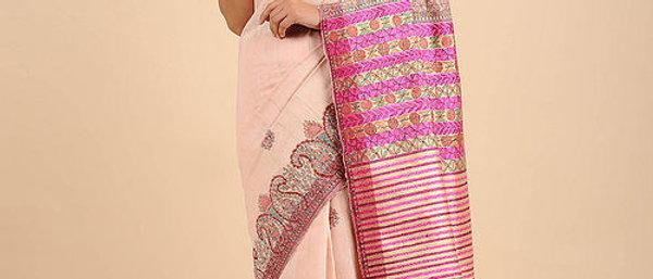 Peach-Pink Hand Painted Madhubani Linen Saree