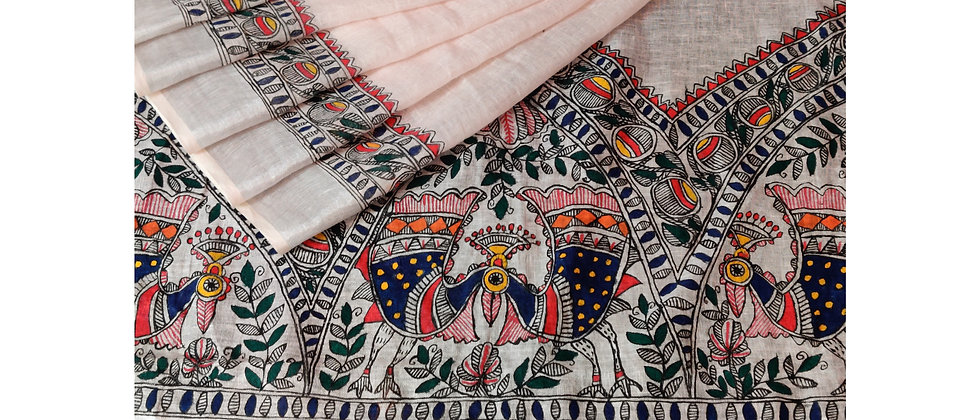 Peach Multicolor Madhubani work linen saree