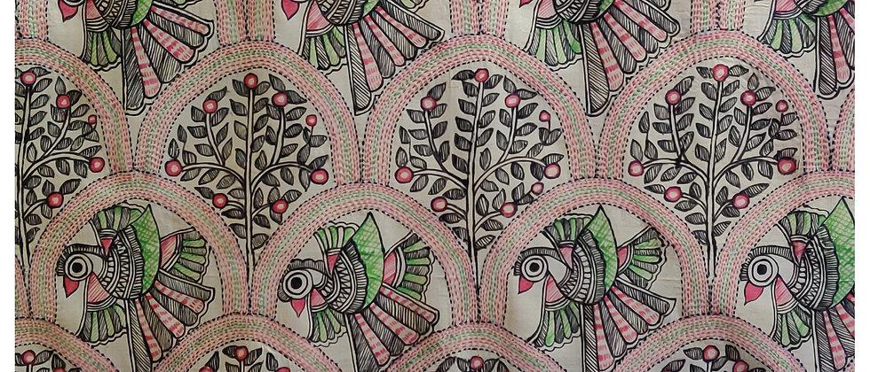 Beige Pink Green Madhubani Kantha silk dupatta