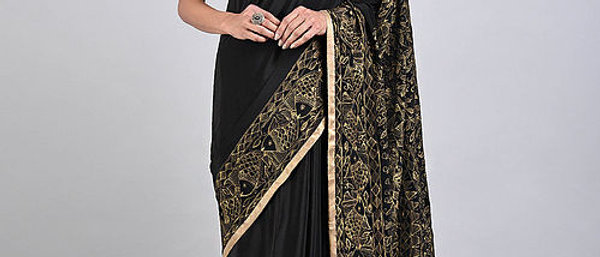 Black Golden Madhubani Crepe Silk Saree