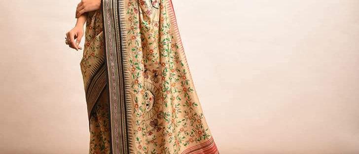 Black and Red Vidrabha Karvati Madhubani Silk Saree