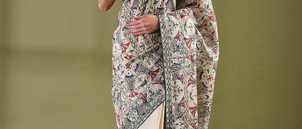 Cream Multicolor Half Full Work Madhubani Moonga Silk Saree