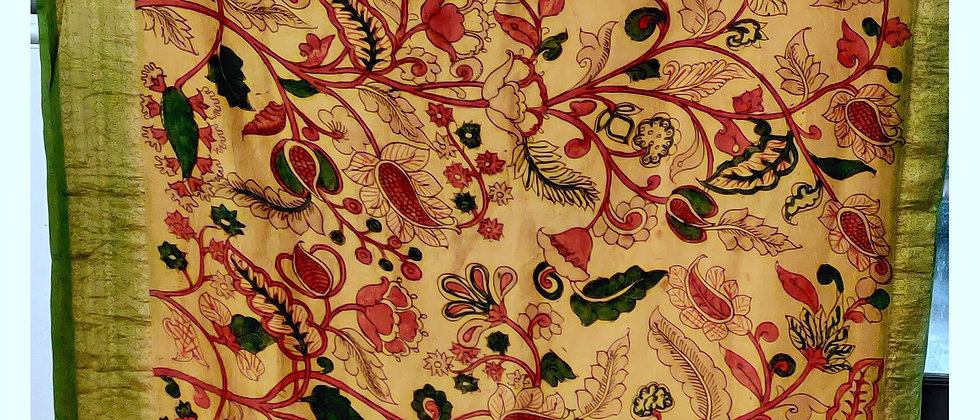 Kanjivram Kalamkari Natural Dye Silk Saree