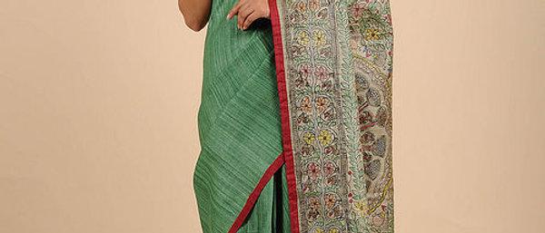 Green Multi Color Silk Madhubani Saree