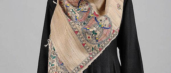 Beige Madhubani Painted Tussar Silk Stole