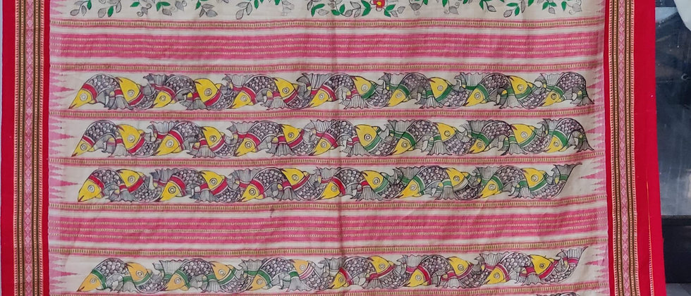 Red Border Madhubani Vidrabha Karvati Silk Saree