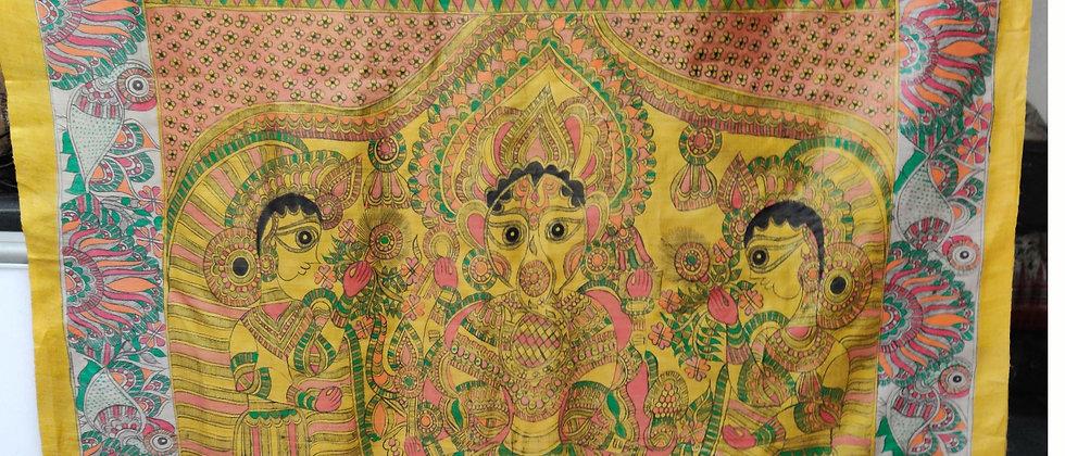 Yellow Multicolor Madhubani Silk Saree
