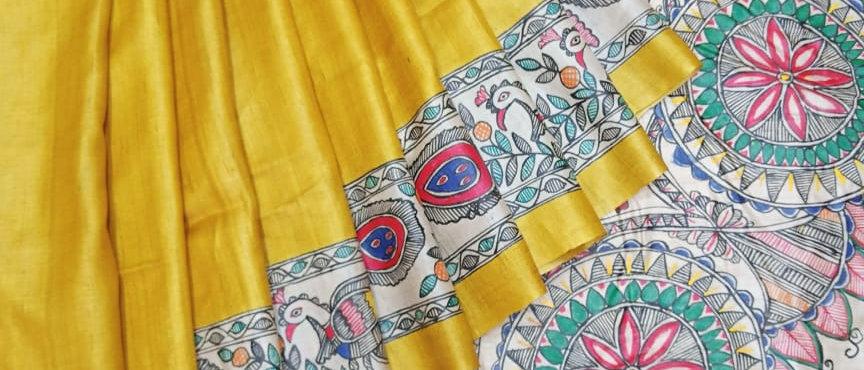 Kohber Madhubani Hand Painted Silk Saree