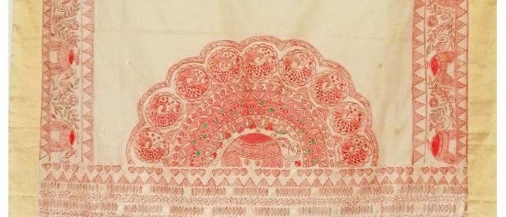 Beige Red Chanderi Silk Madhubani Hand Painted Saree