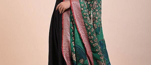 Green-Red Hand Painted Kalamkari Linen Dupatta