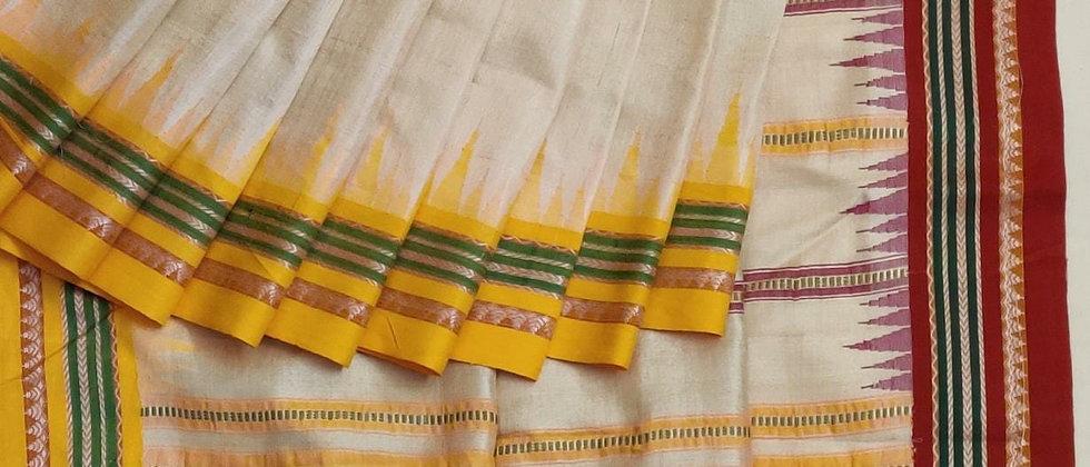 Red-Yellow Ganga Jamuna Vidrabh Karvati Tusser Silk Sare