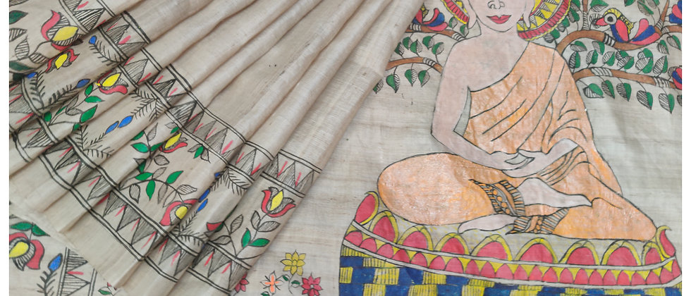 Budhha Madhubani Hand Painted Silk Saree