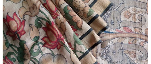 Natural Base Multicolor Work Kalamkari Natural Dye Silk Saree