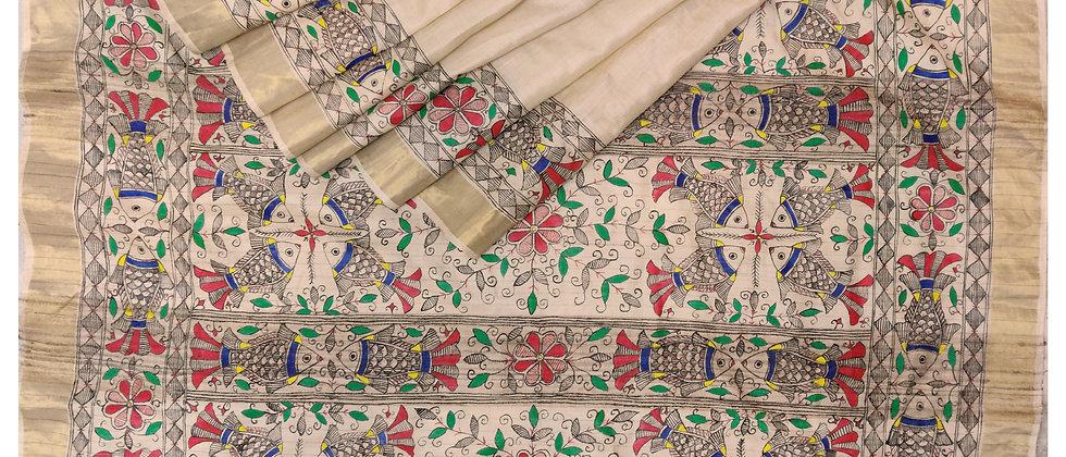 Cream Multi Colour Madhubani Hand Painted Silk Saree