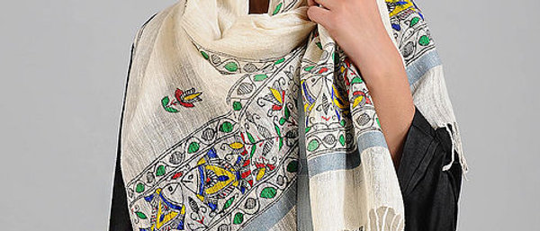 Off-White Madhubani Painted Muga Silk Stole