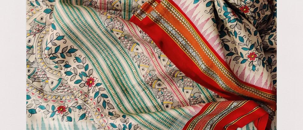 Vidrabh Karvati Ganga Jamuna Madhubani silk Saree
