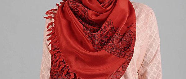 Red Color Madhubani Crepe Stole