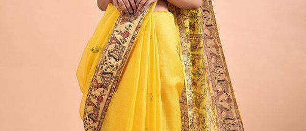 Yellow Madhubani-Painted Kota Silk Saree