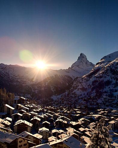 Sunset over zermatt, Matterhorn, mountain town