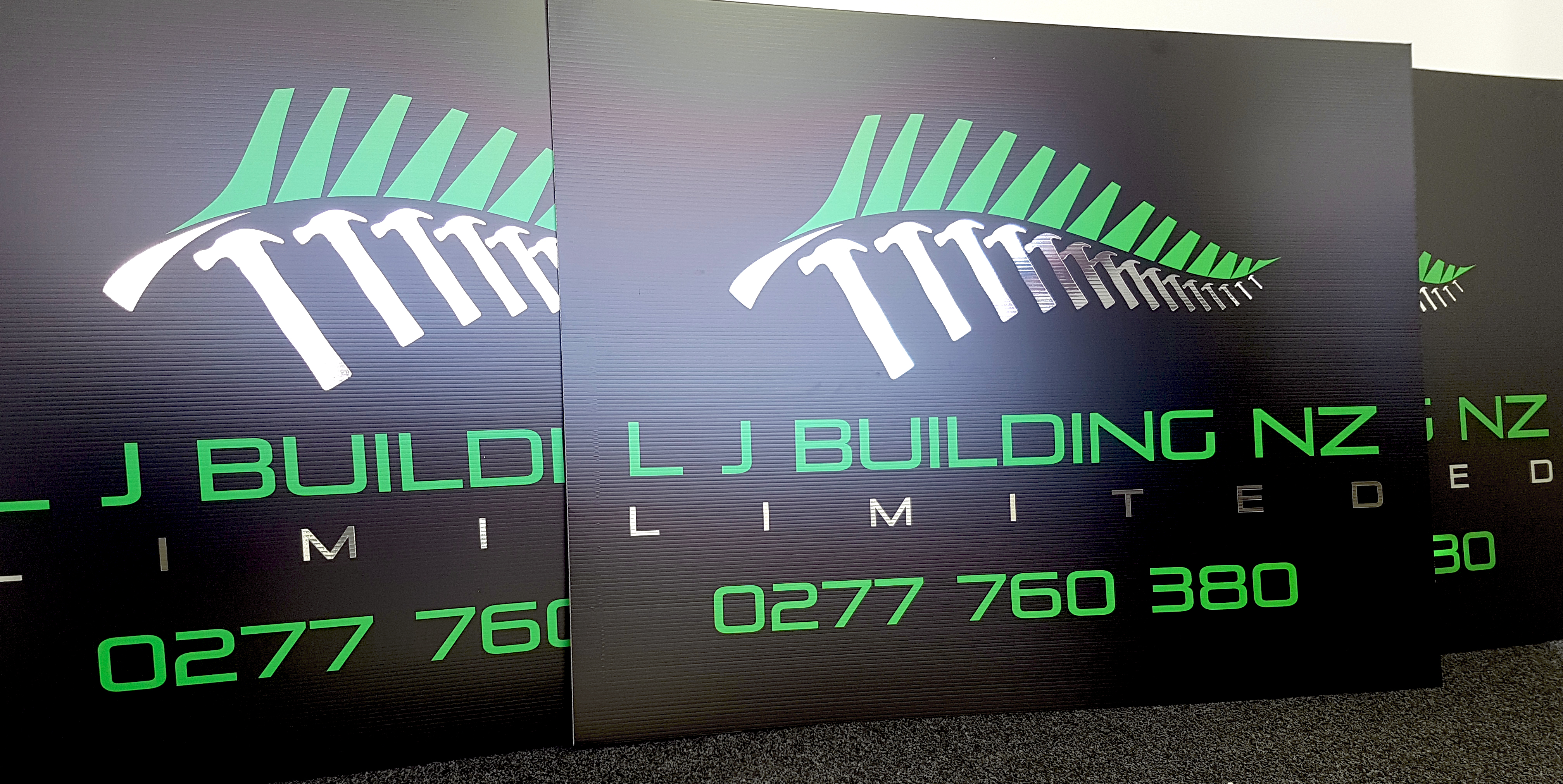 LJ Building NZ corflute sign