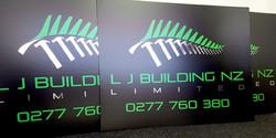 LJ Building NZ corflute sign