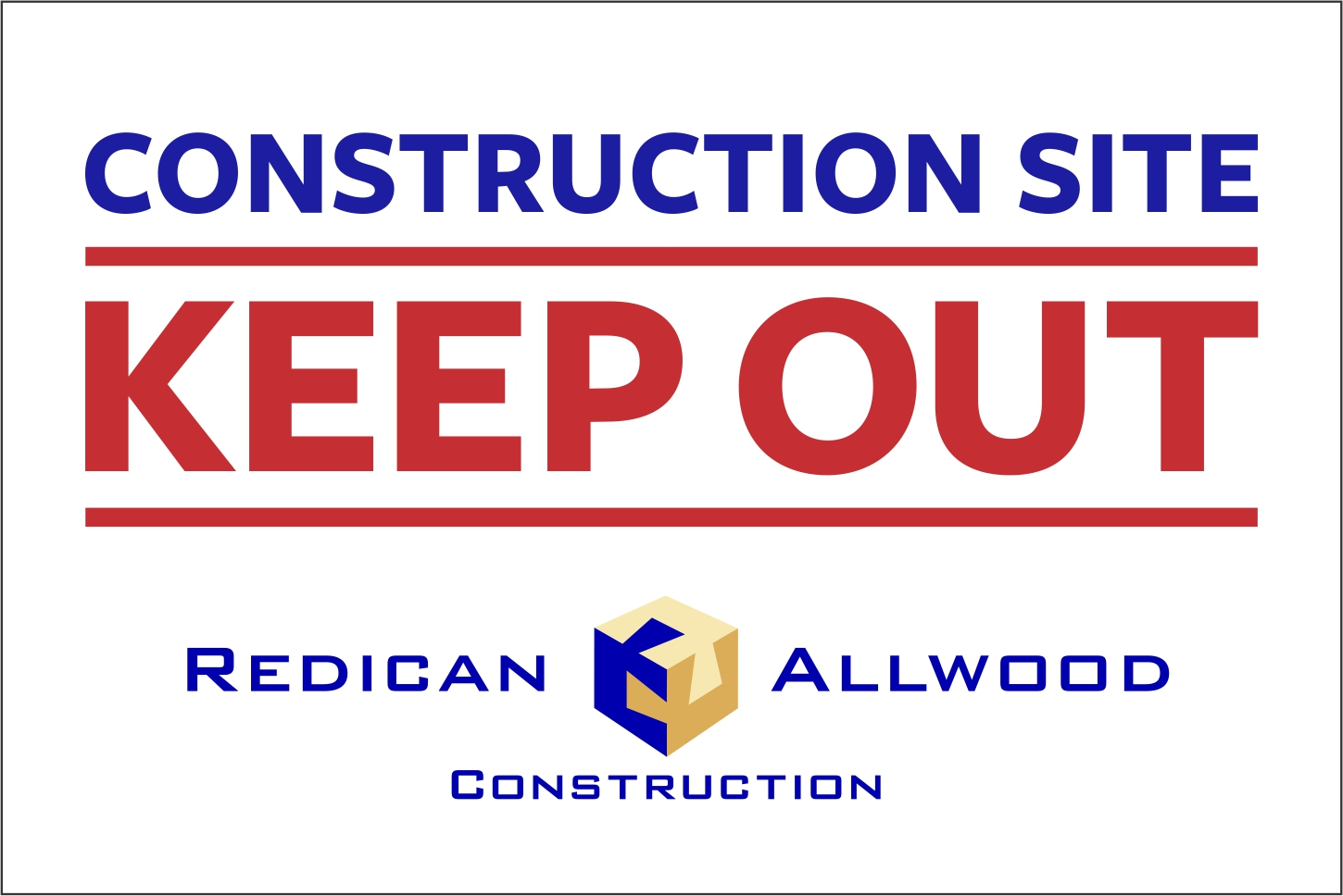 Custom Construction Corflute Sign