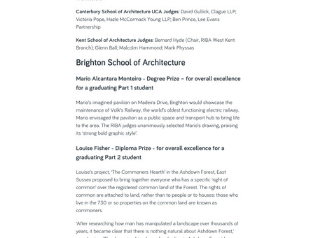 RIBA South East Degree Prize  Official Press Release