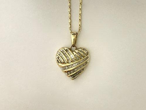 YG Diamond Heart Charm & Chain Set
