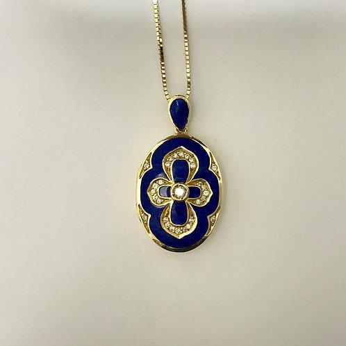 YG Lapis lazuli Locket & Chain Set