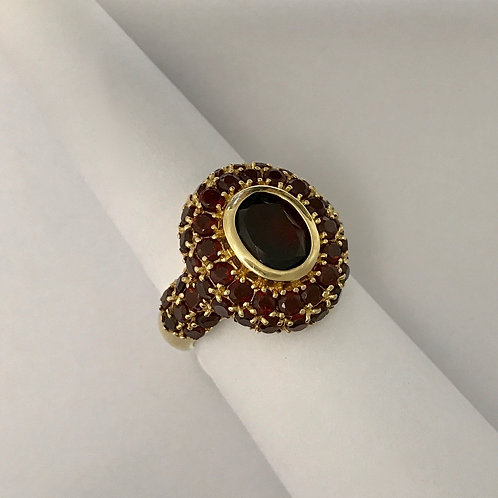 Ladies YG Garnet Cluster Ring