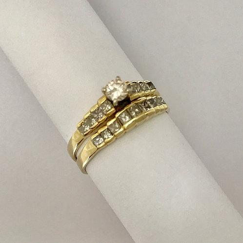 Ladies YG Wedding Set with Diamonds
