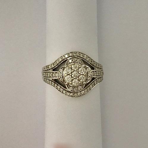 Ladies WG Ring with Many Diamonds
