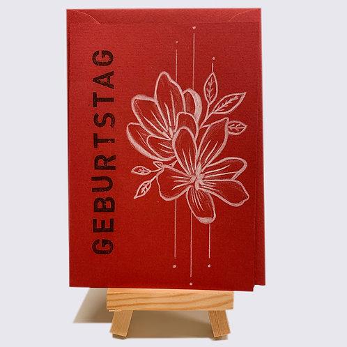 Karte – Geburtstag, rot mit weissen Blüten