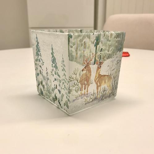 Teelicht Serviettentechnik Hirsche