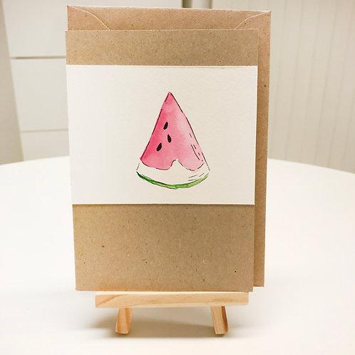 Karte – Wassermelone, Aquarell