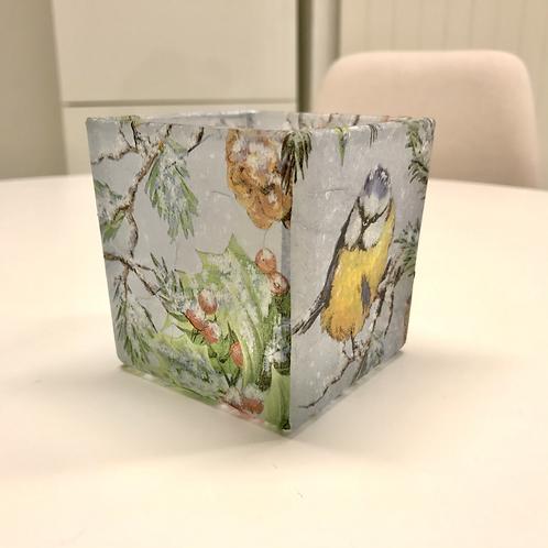 Teelicht Serviettentechnik Vögel